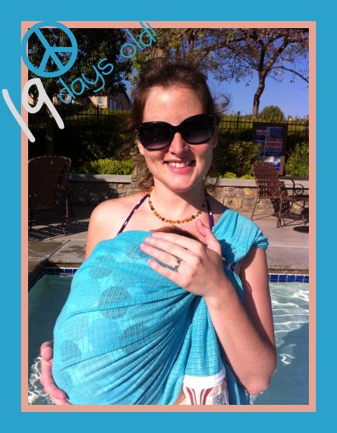 Babywearing at the pool!