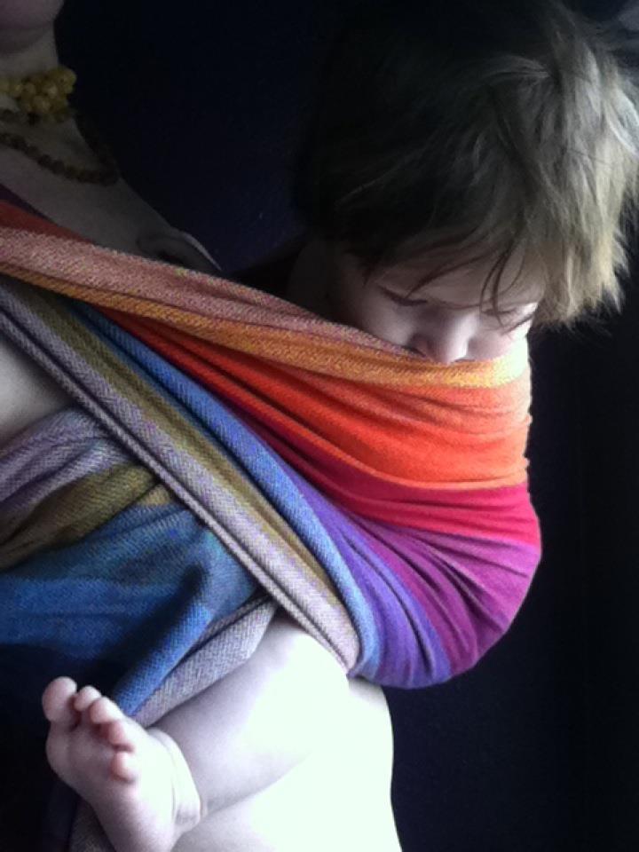 PAXbaby Earthy Rainbow woven wrap girasol ring sling