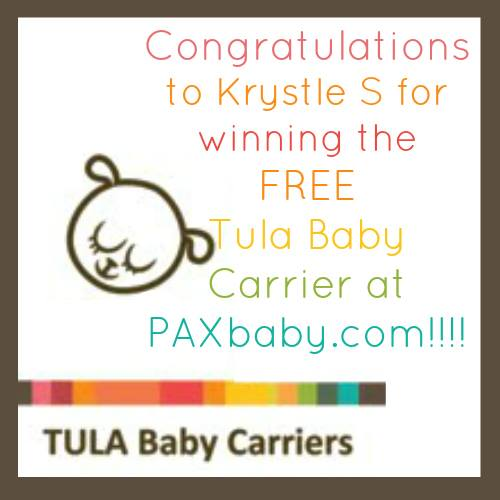 The PAXbaby.com FREE Tula Winner is…