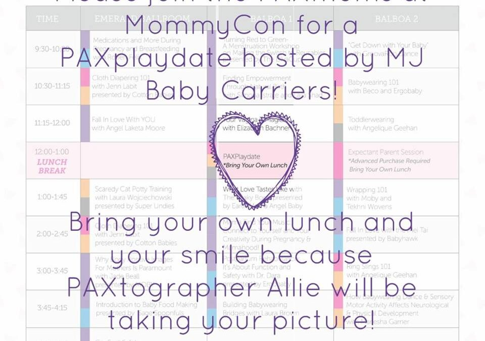 Come play with PAXbaby.com & MJ Baby Carriers at MommyCon OC!