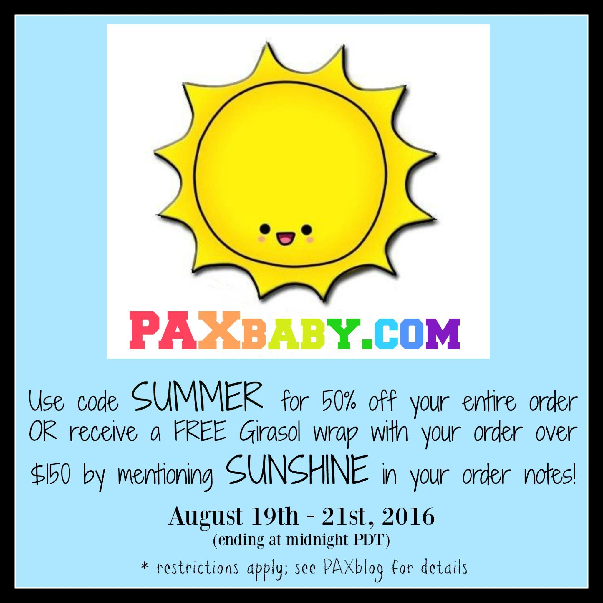 PAXbaby_sale_summer_free_giveaway_girasol_Babywearing_PAX